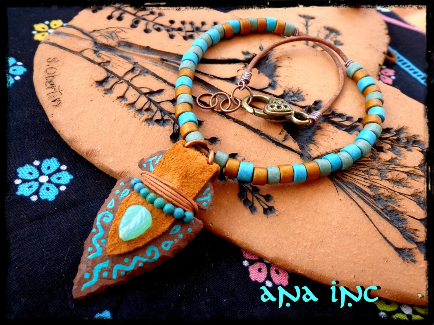 Tribal Necklace Indian ARROWHEAD Necklace Leather Native
