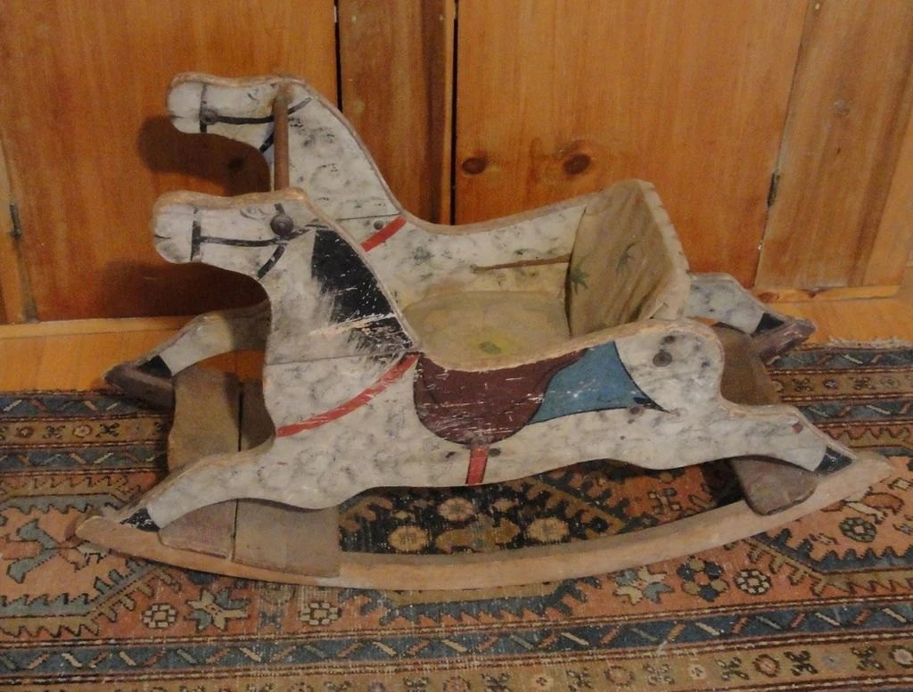 Antique Painted Wooden Rocking Horse ChairDownton Abbey