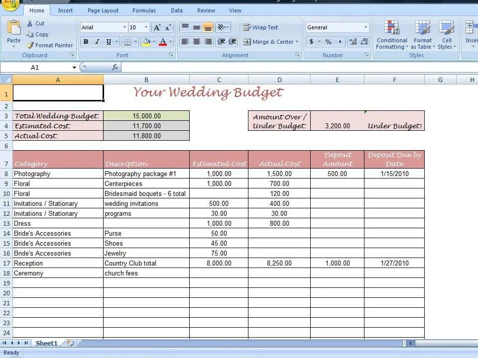 Simple Wedding Budget Worksheet Printable by TimeSavingTemplates