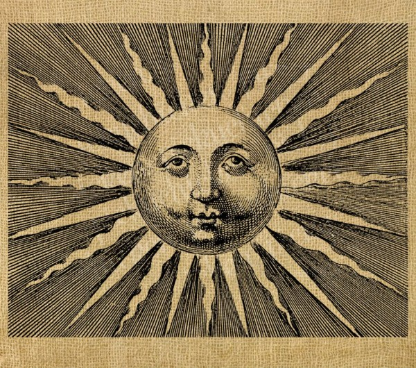 Vintage Sun With Face - 8x10 Digital Instant