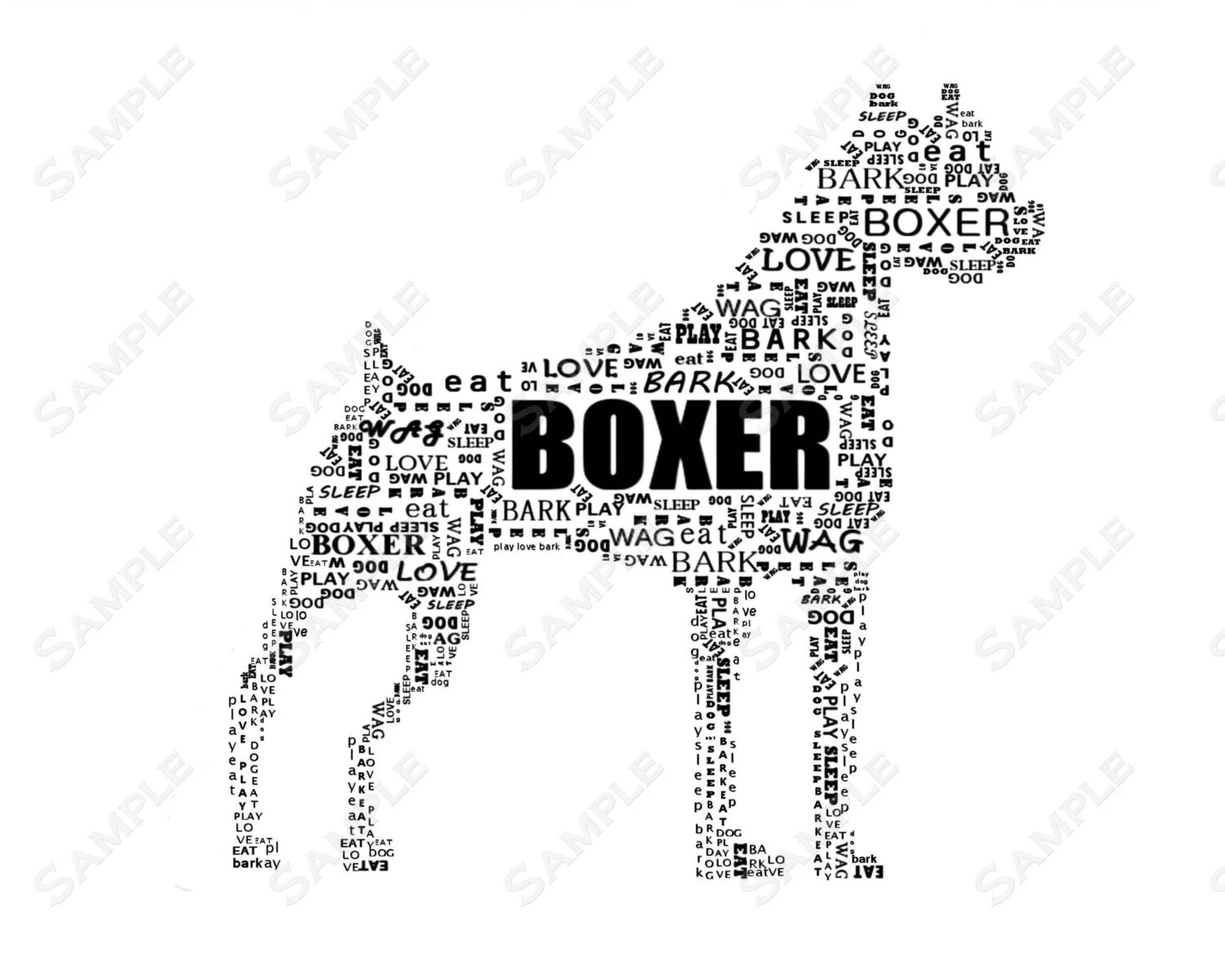 Items similar to Personalized Boxer Dog Gift Boxer Word