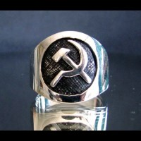 Silver Hammer and Sickle Ring Communist CCCP by AurumArtisans