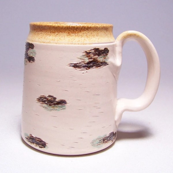 Birch Bark Large 16 ounce Pottery Coffee Mugs Limited Series