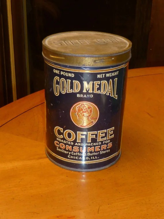Great Antique Gold Medal Coffee Can Tin 1 By Vintagegirlstuff
