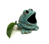 Ceramic Frog Sponge Holder Teal Blue