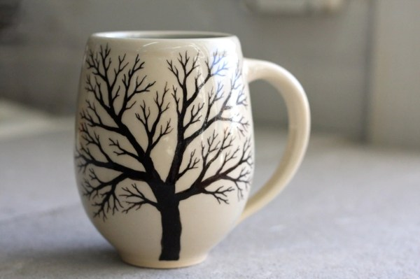 Belly Tree Mug Pottery Coffee Cup with hand painted tree in