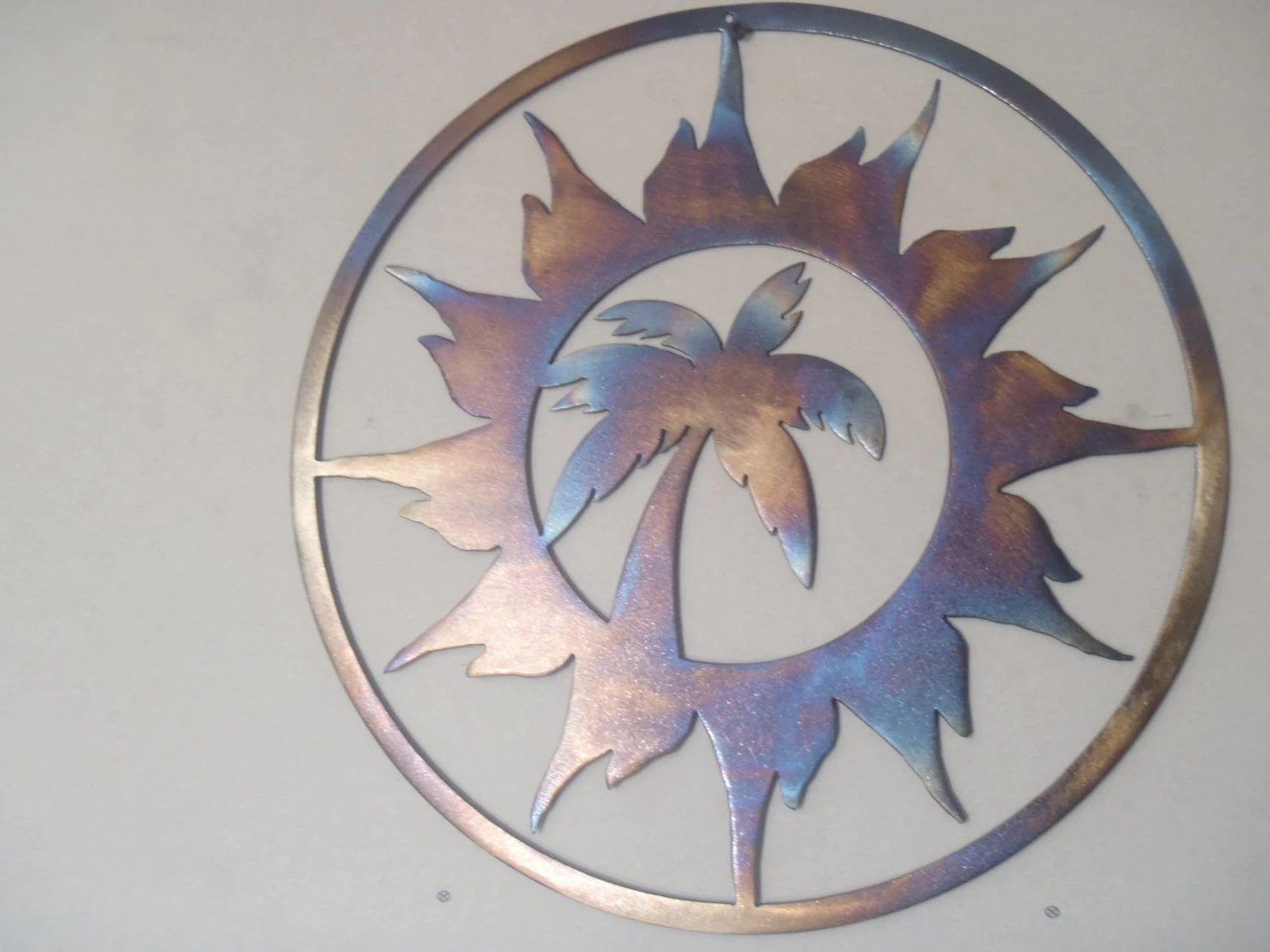 Palm Tree And Sun Metal Art Round Wall Decor By Tibi291 On