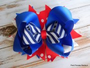 hair bows big red white