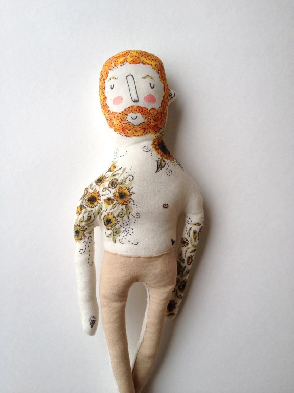 Vincent Van Gogh- Sunflowers- art doll-Tattoo Sleeve- Plush Doll