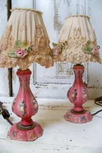 Shabby chic pink lamp set with embellished shades vintage