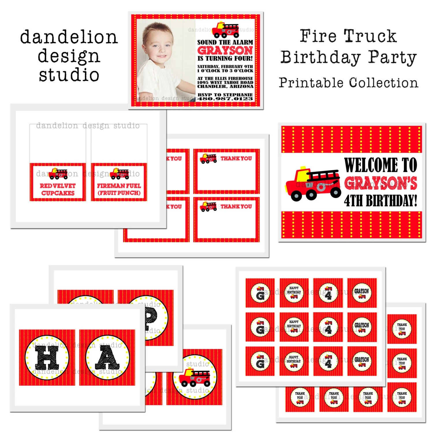 Printable Full Collection Fire Truck Party Collection