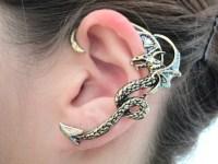 Glitter wing fly dragon ear cuff antique gold dragon wrap