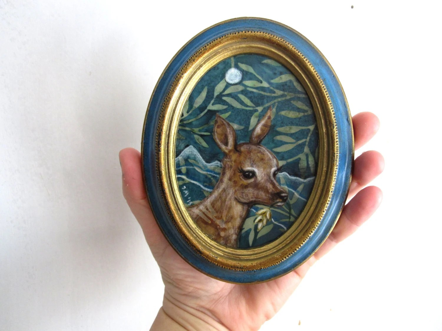 Young Doe, oval frame, deer woodland forest rustic, Original Fabric on Wood art - shellieartist