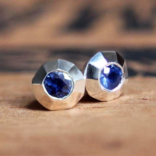Sapphire Stud Earrings Silver Studs Earring
