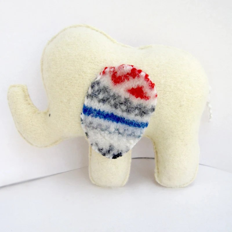 Big Light Yellow Elephant - Recycled Wool/Angora Plush Toy