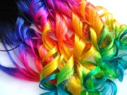 hair extensions dip dyed black neon