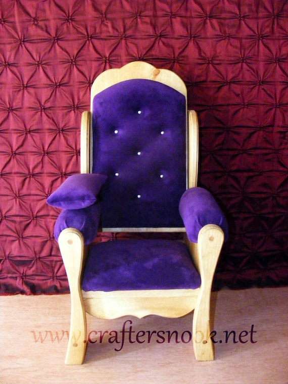 Purple Newborn Photography Prop Throne Chair and Pillow Boy