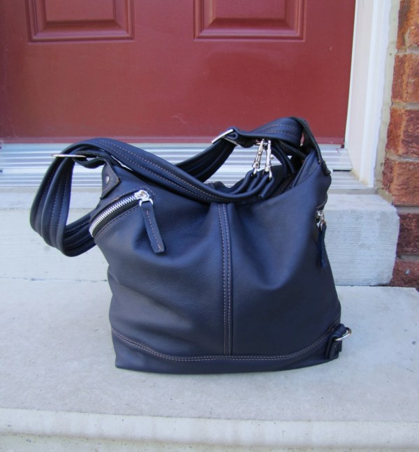 Royal Blue Leather Convertible Backpack Purse Messenger Bag
