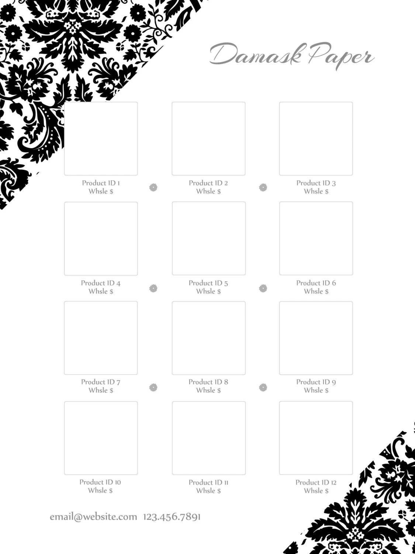 Instant Download Line Sheet template set Damask Paper
