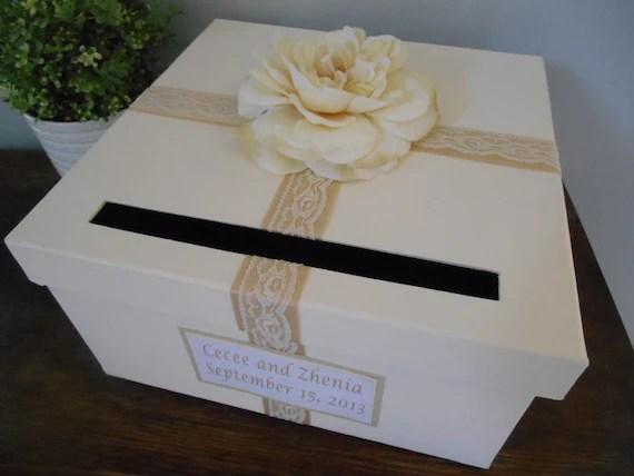 Items Similar To Champagne Wedding Card Box Lace Wedding