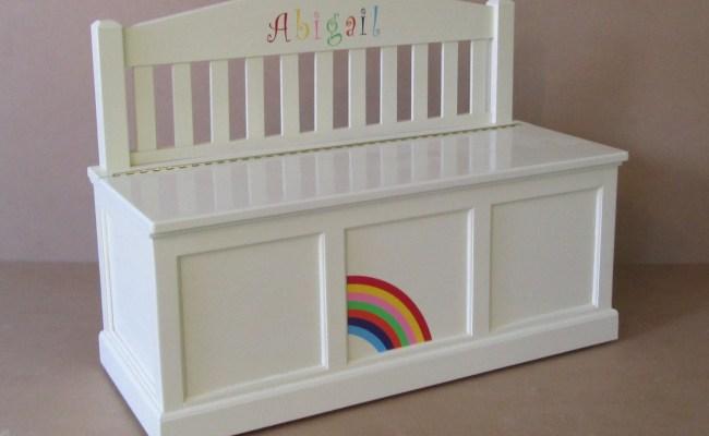 Wooden Toy Chest Bench Antique White Rainbow