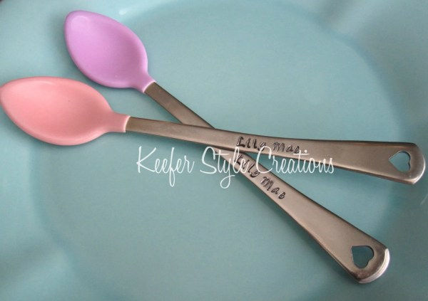Personalized Hand Stamped Baby Spoons Great Shower Set