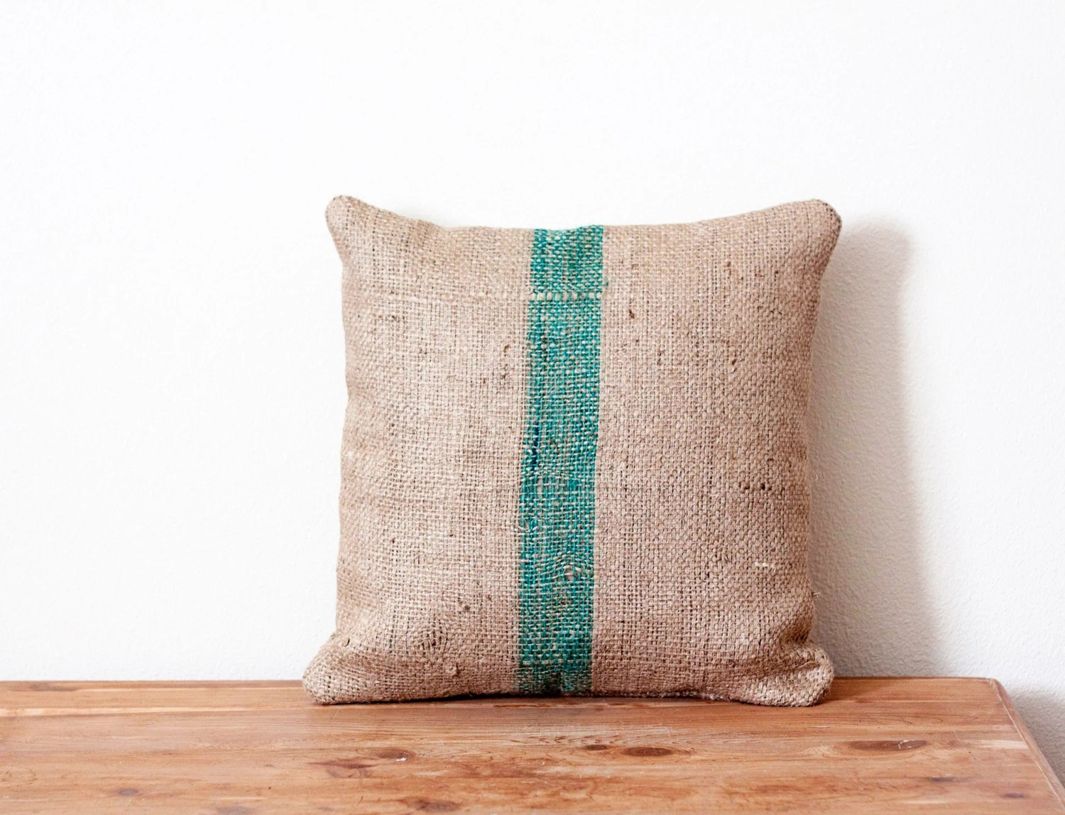 Upcycled Authentic Burlap Coffee Sack Pillow Case - 16in x 16in - High Quality/Rustic/Unisex - Aforetime