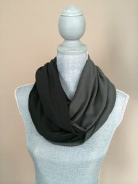 Infinity Scarf with Hidden Pocket Reversible Knit Grey and