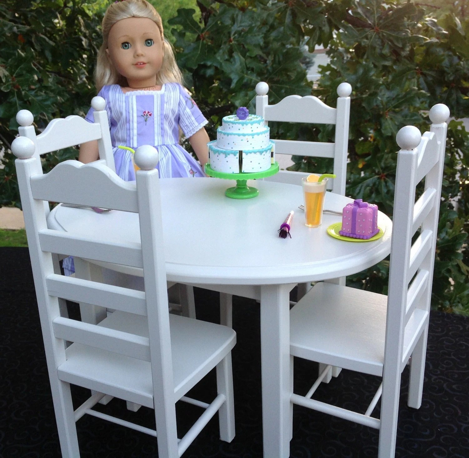 american girl high chair how much do covers cost for a wedding doll furniture oval table and 4 set