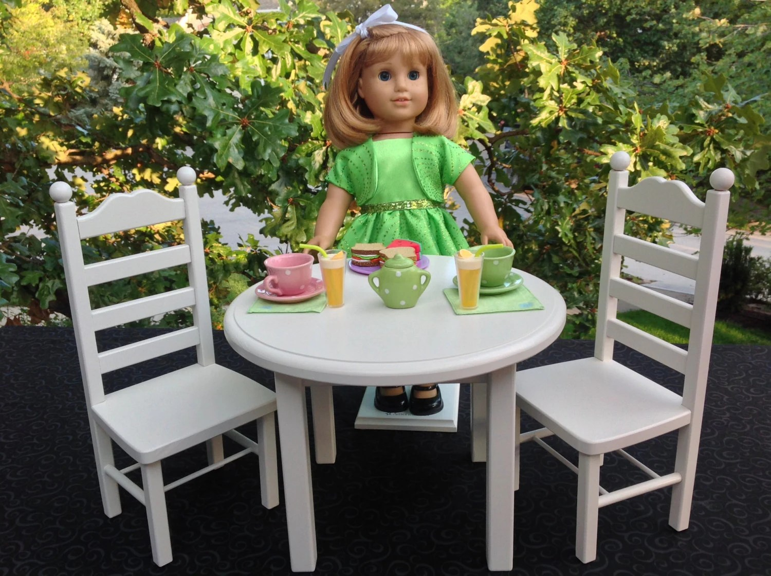 american doll chair table and 2 chairs garden girl furniture round set