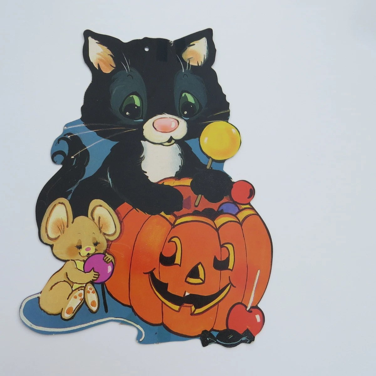 Vintage Halloween Cut Out Paper Decorations Set Of 2 Ghost