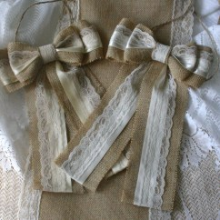 Burlap Bows For Wedding Chairs Chair Child S Desk And Lace Pew Country