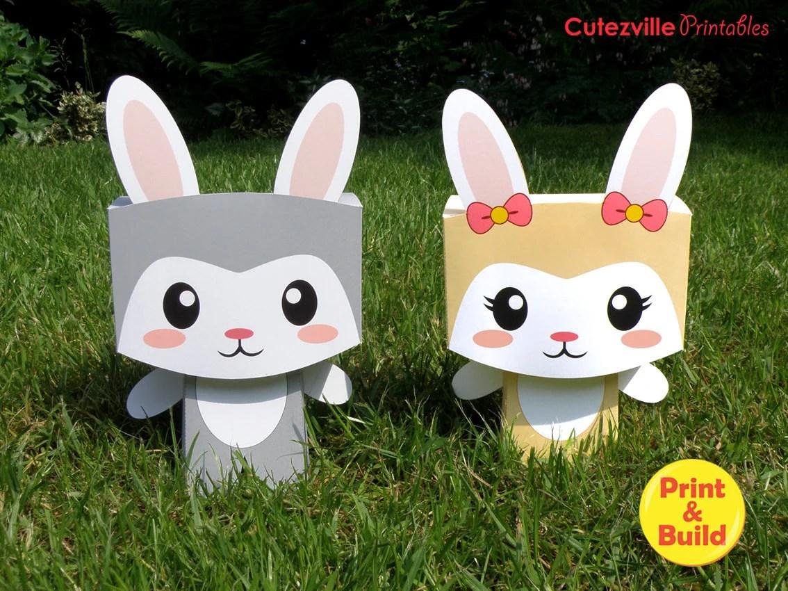 Two Printable Easter Kawaii Bunny Rabbit Favor Candy T
