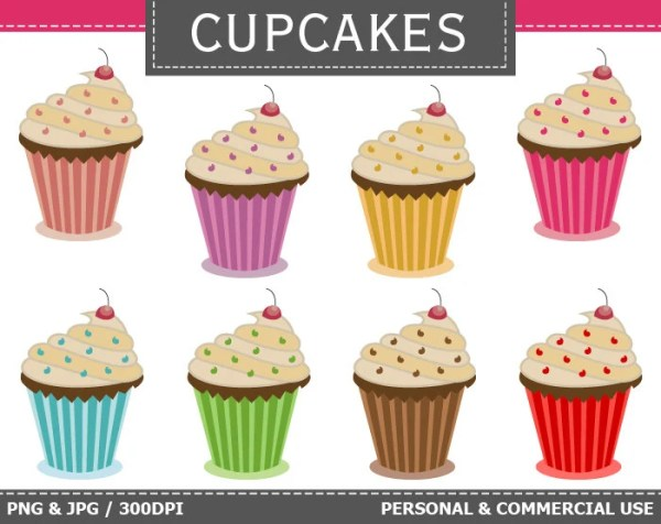 digital cupcakes clipart cakes