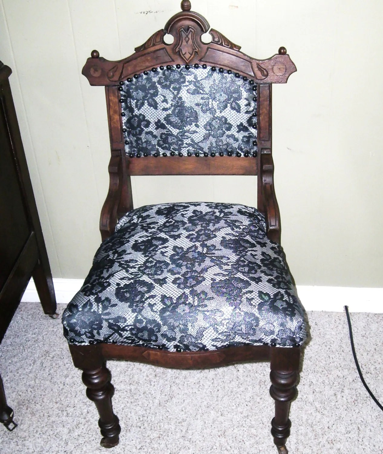 antique vanity chair black and white chevron bean bag 19th century hand carved petite on