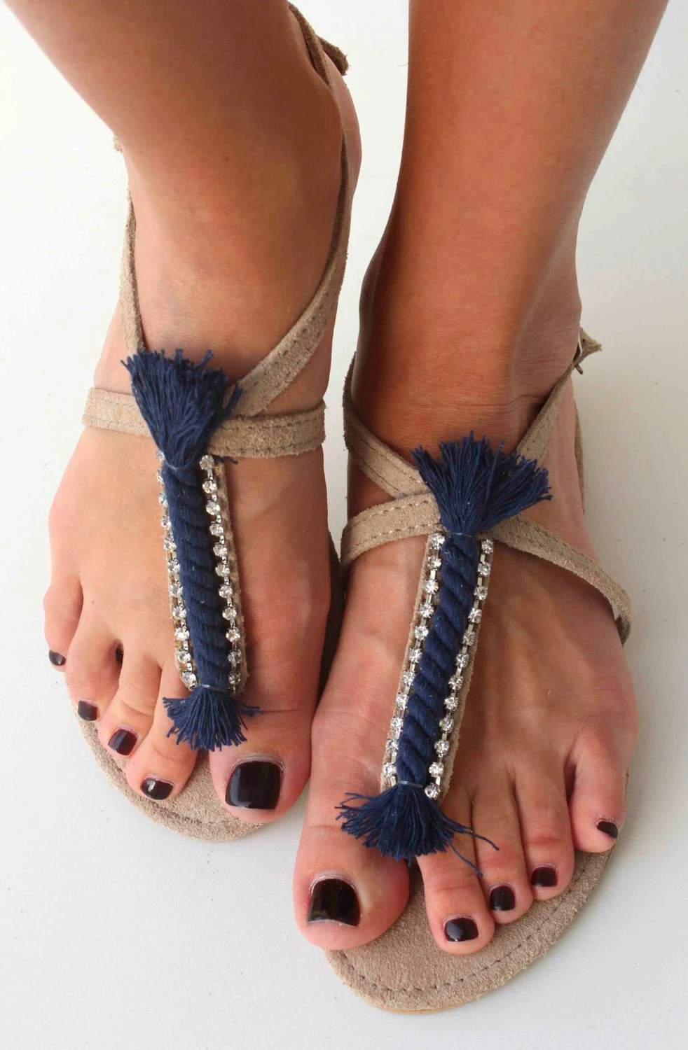 Leather Sandals with Nautical Rope and Swarovski rhinestones - Navy blue Sandals - Genuine Leather Sandals