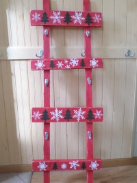 Red Wood Stocking Holder Unique Ladder Rustic Shabby hooks