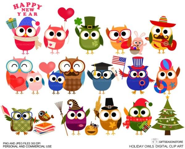 holiday owls digital clip art