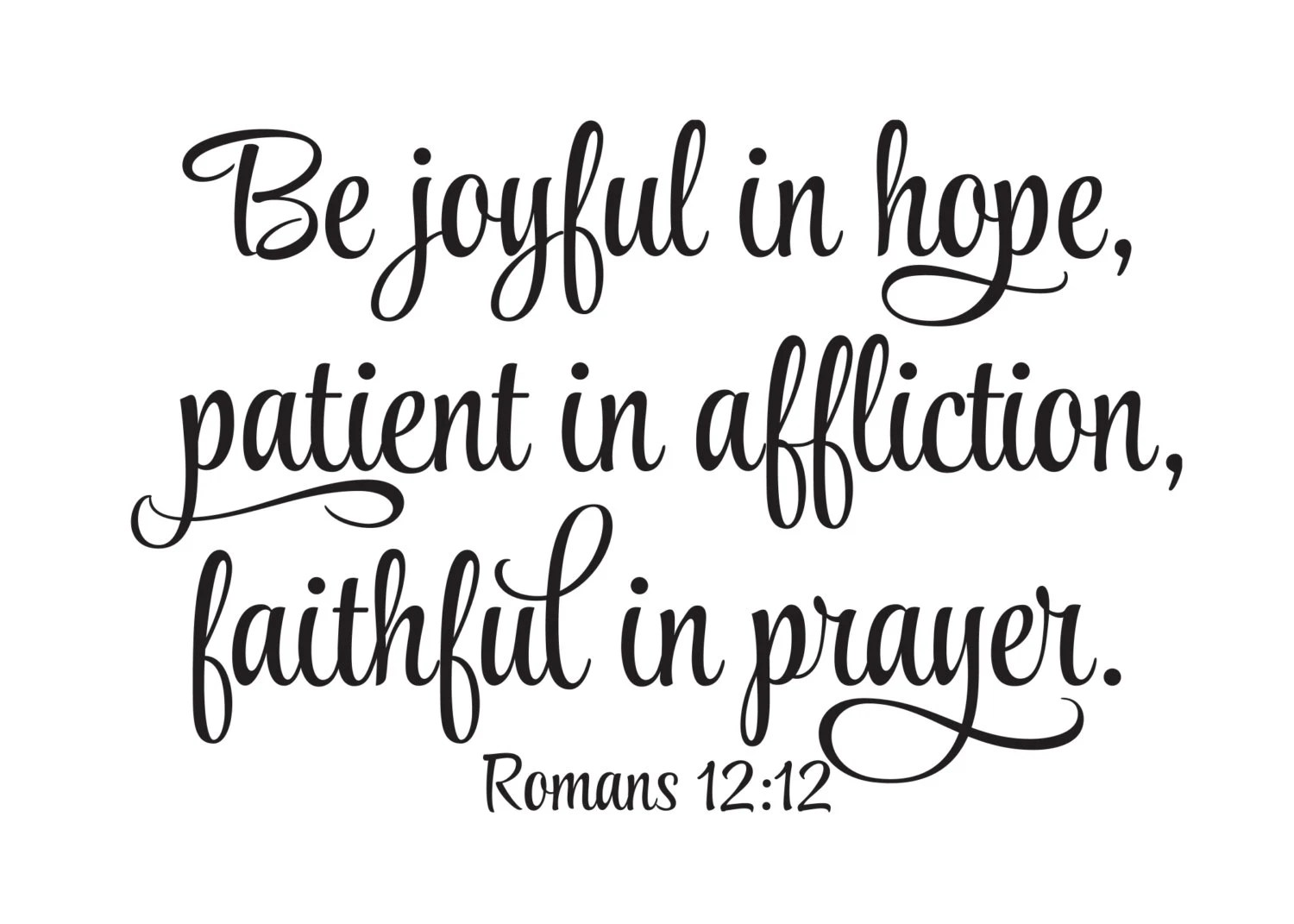 Romans 12:12 Be joyful in hope patient in affliction faithful