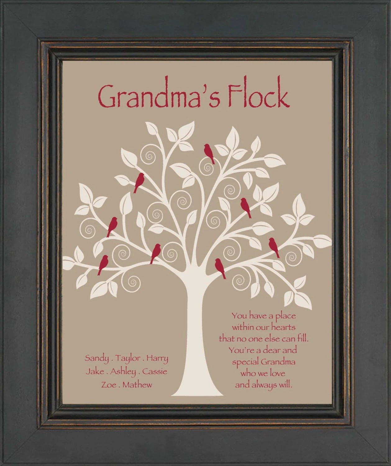 grandma gift family tree personalized gift for grandmother