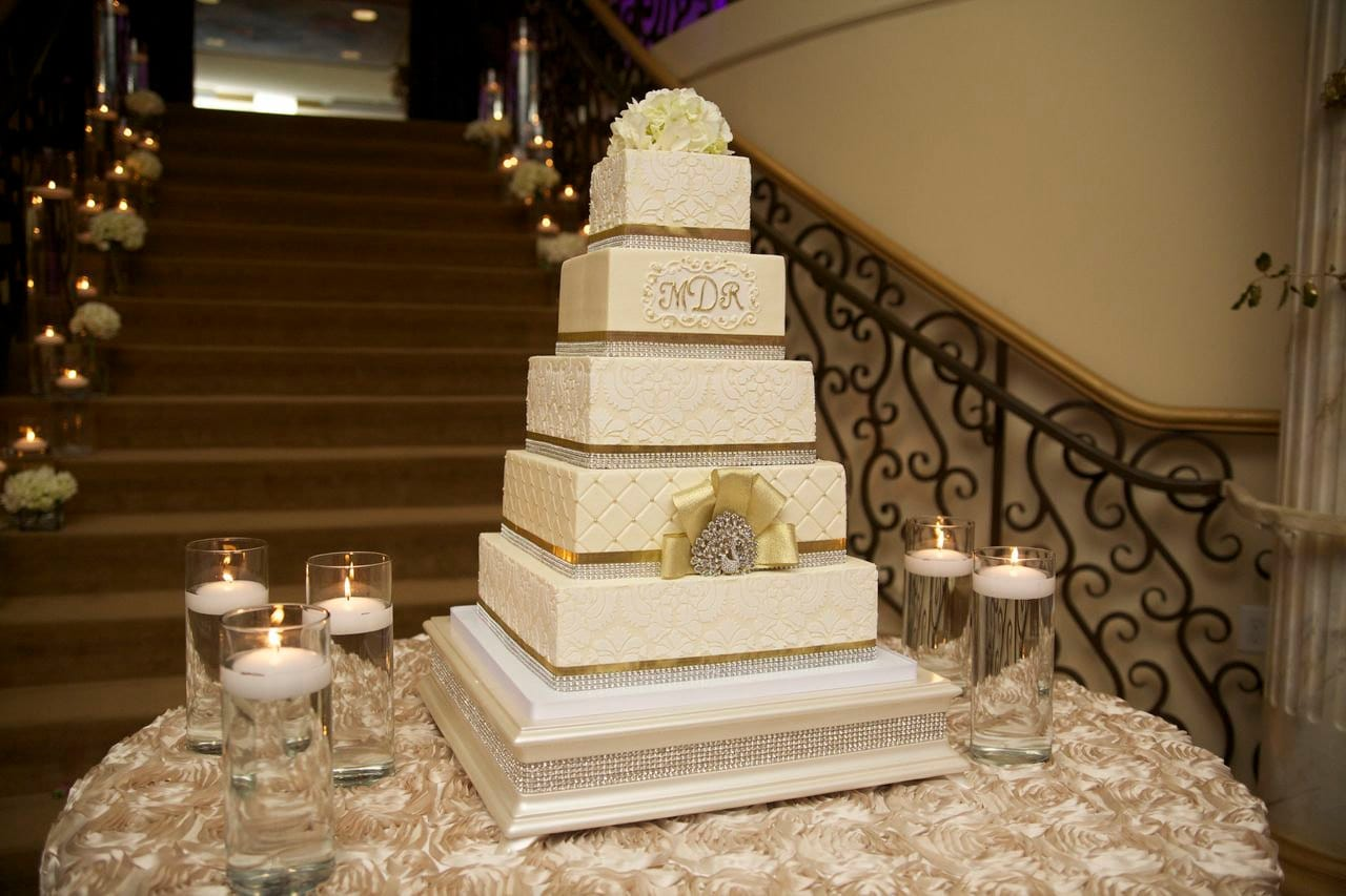 18 Inch Square Cake Stand With Ivory Pearl Finish And Diamond