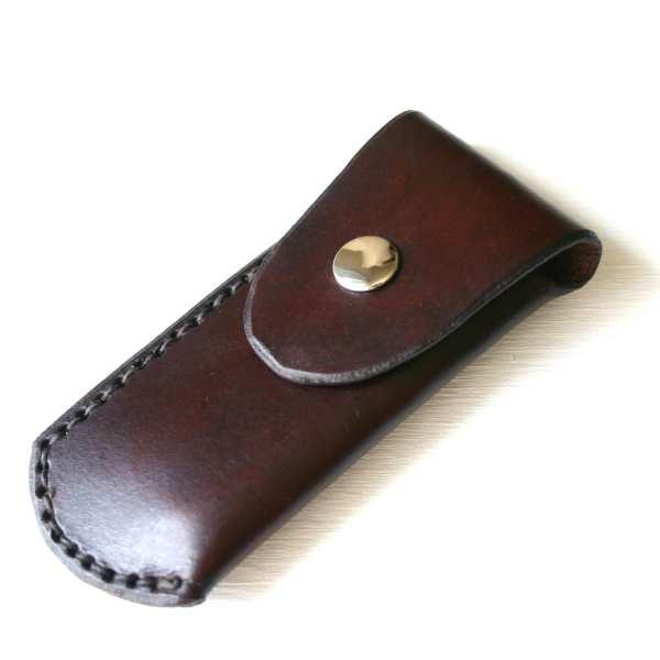 Pocket Knife Holder. Dark Brown Leather Sheath
