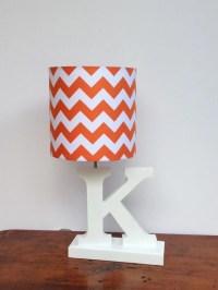 Small Orange/White Chevron Drum Lamp Shade Nursery