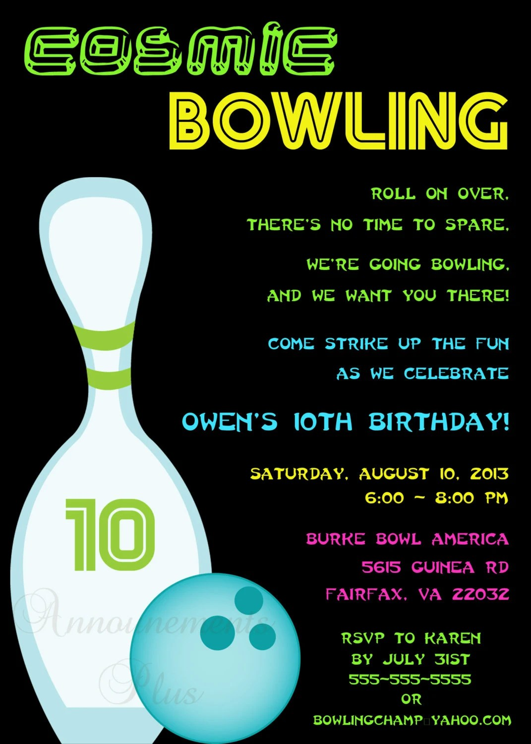 Items similar to 5x7 CosmicBowling Invitation several designs available on Etsy