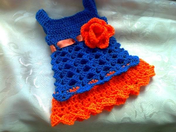 Florida Gator Baby Dress Blue And Orange Crochet
