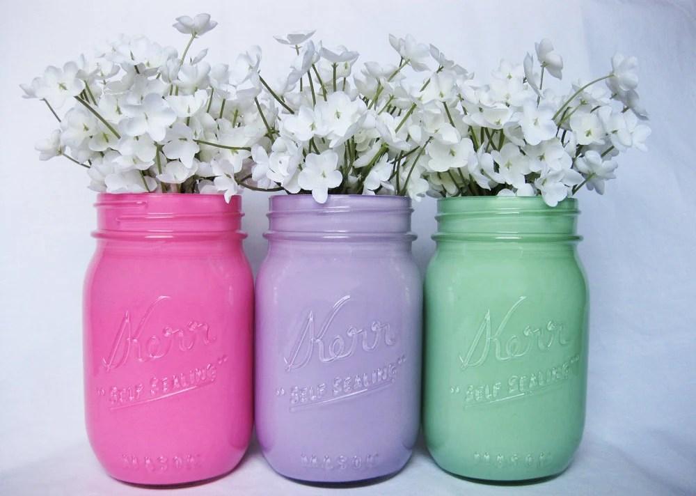 Pastel Mason Jars, Painted Mason Jars, Set of Three , Mason Jars, Colored Mason Jars, Mason Jar Centerpiece, Wedding Mason Jars - TheCraftyEngineerx