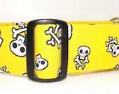"XL 1.5"" Bright Yellow Dog Collar with Skulls Crossbones - SewPawsitive"
