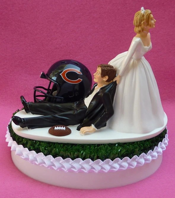 Wedding Cake Topper Chicago Bears Football Themed Sports Turf