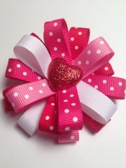 valentine's day hair bow clip hearts