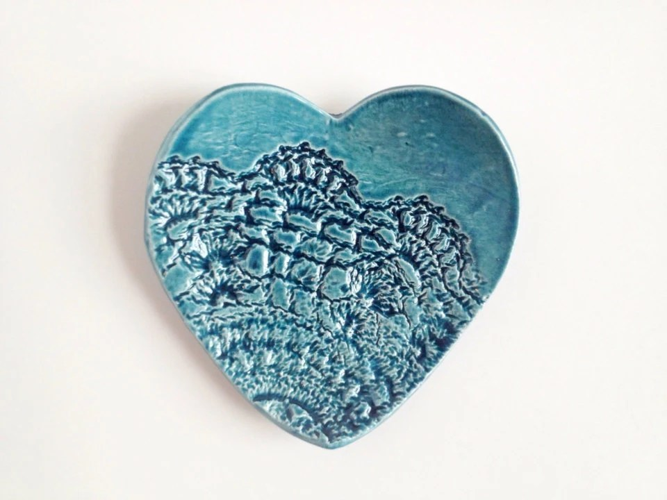 Heart Ring Dish - Teal Home Decor - Teal Wedding Favors - Ceramics and Pottery - PotteryLodge